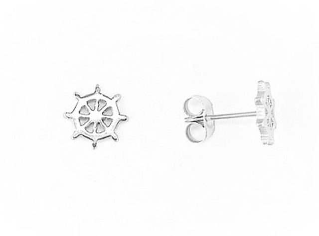 EARRINGS Ships Wheel Silver