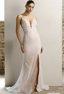 Crystal/Nude Deep V Fitted Gown