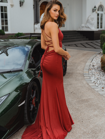 V Neck Luxe Fitted Gown