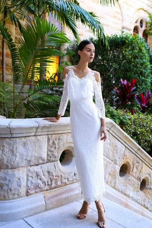 ELLE ZEITOUNE White Lace Pencil Maxi