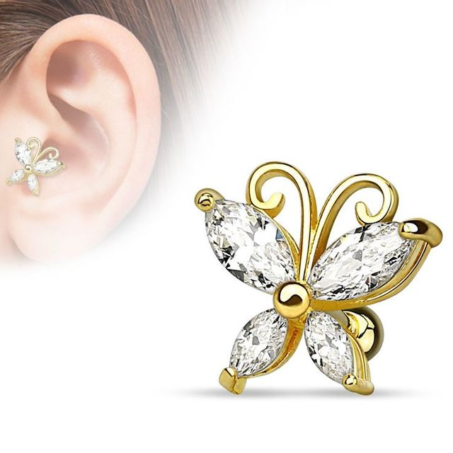 BARBELL 16g Helix Butterfly Stud Gold SSS