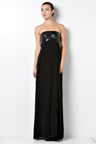 CQ Leather Bodice Chiffon Gown