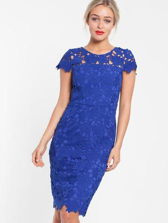 PINK RUBY Uptown Lace Dress Cobalt Blue