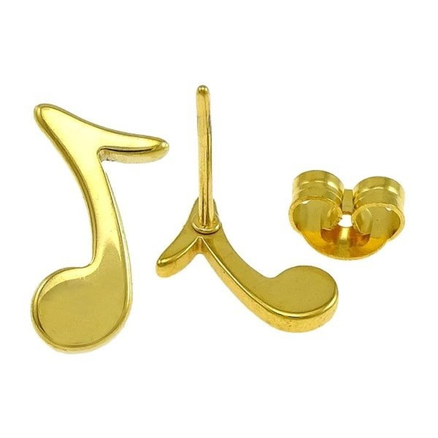 EARRINGS Music Note Treble Clef Gold
