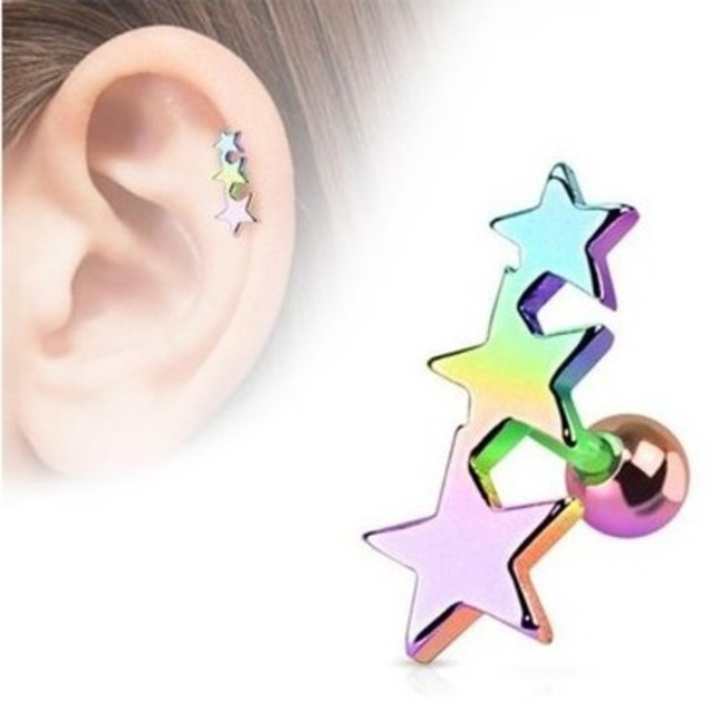BARBELL 16g Helix 3 Star Ear Cuff SSS